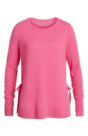 Women's Halogen Side Tie Cashmere Sweater, Size Small - Pink
