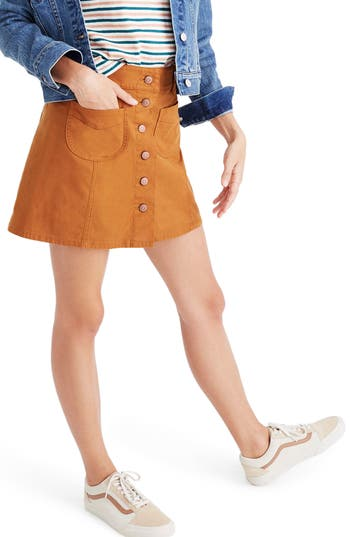 1960s Style Skirts Womens Madewell Button Front Miniskirt Size 14 - Brown $88.00 AT vintagedancer.com