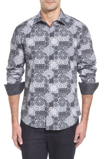 Men's Bugatchi Slim Fit Collage Print Sport Shirt