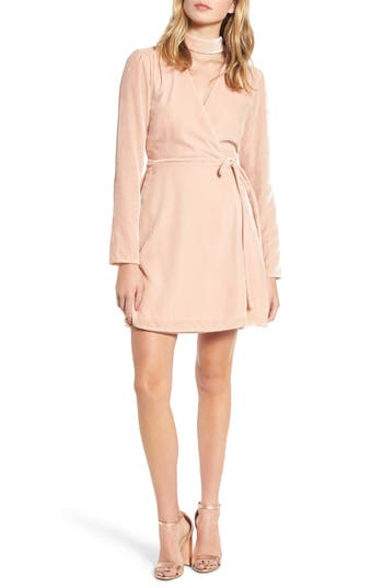 Women's Wayf Elroy Choker Collar Wrap Dress, Size X-Small - Pink