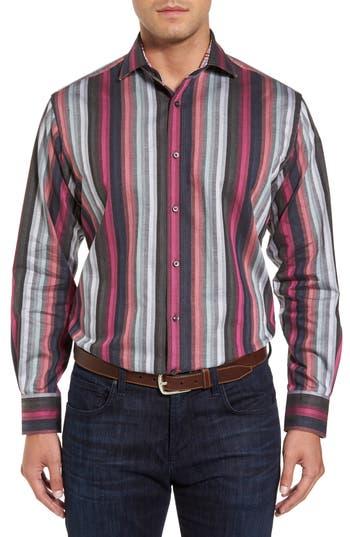 Men's Thomas Dean Regular Fit Multicolor Stripe Herringbone Sport Shirt