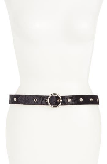 Women's Halogen Grommet Velvet Skinny Belt