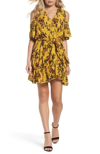 Women's Foxiedox Windsome Floral Cold Shoulder Wrap Dress, Size X-Small - Yellow