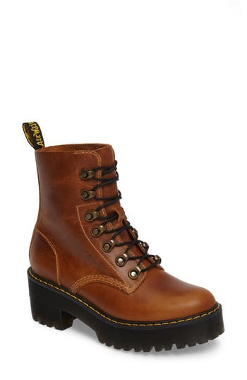 Dr. Martens Leona Heeled Boot, Brown