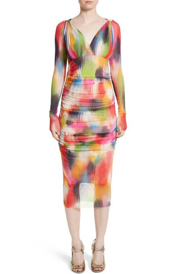 Women's Fuzzi Brushstroke Print Tulle Ruched Dress