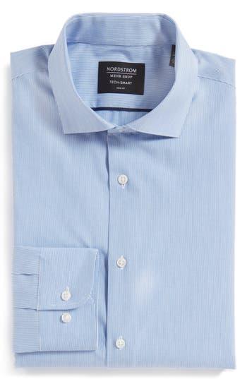 Men's Nordstrom Men's Shop Tech-Smart Trim Fit Stretch Stripe Dress Shirt