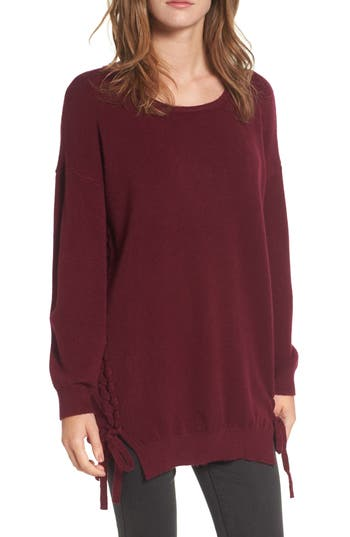 Women's Dreamers By Debut Lace-Up Tunic Sweater, Size X-Small - Burgundy