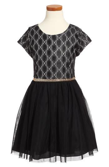 Girl's Nanette Lepore Glitter Lace Dress