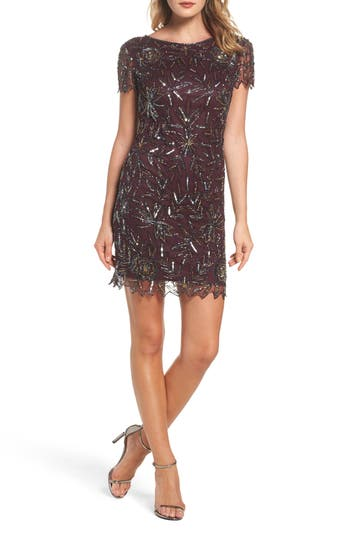 Women's Pisarro Nights Floral Beaded Shift Dress, Size 2 - Burgundy
