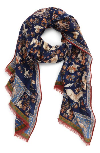 Men's Drakes Unicorn Print Wool & Silk Scarf