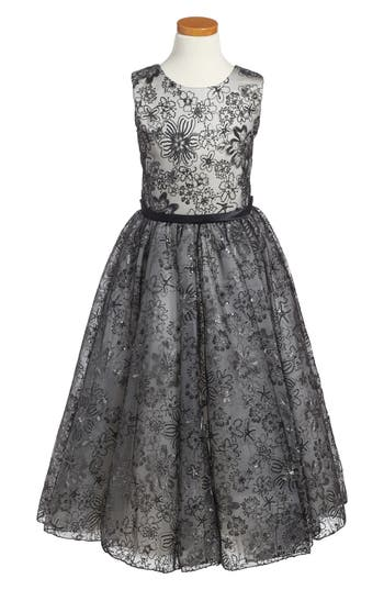 Girl's Joan Calabrese For Mon Cheri Sequin & Lace Dress