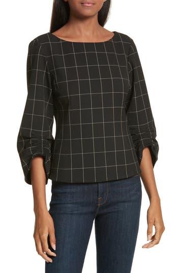 Women's Tibi Windowpane Corset Peplum Top, Size 0 - Black