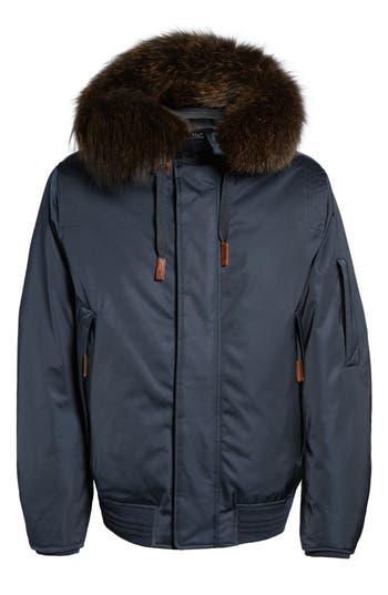Andrew Marc Bomber Jacket With Genuine Fox Fur Trim, Blue