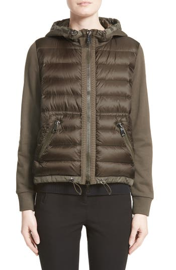 Moncler Quilted Front Hooded Jacket, Green