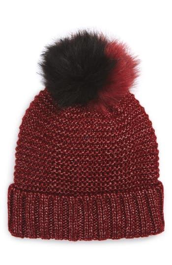 Women's Nyc Underground Faux Fur Pompom Beanie - Burgundy