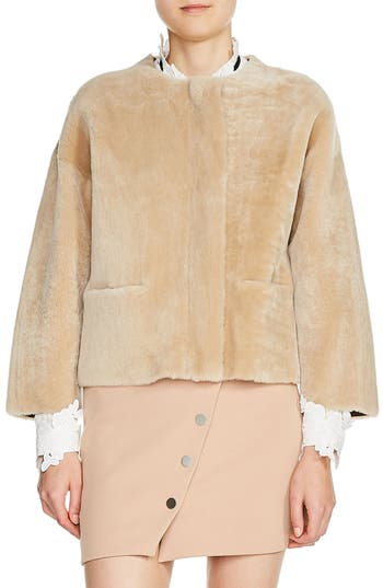 Maje Reversible Genuine Shearling & Leather Jacket, Beige