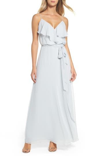 Women's Nouvelle Amsale 'Drew' Ruffle Front Chiffon Gown, Size X-Large - Grey