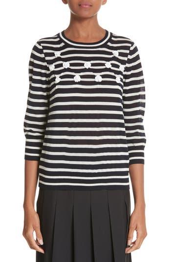 Women's Tricot Comme Des Garcons Button Back Stripe Sweater, Size One Size - Blue