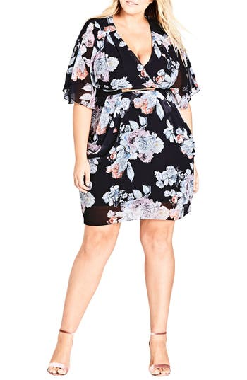 Plus Size Women's City Chic Floral Print Belted Faux Wrap Dress, Size X-Small - White