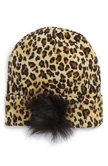 Plh Bows & Laces Animal Print Faux Fur Beanie, Size 0-6 M - Brown