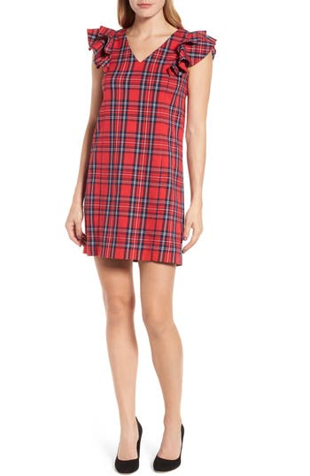 Women's Draper James Angie Check Ruffle Shift Dress, Size 10 - Red