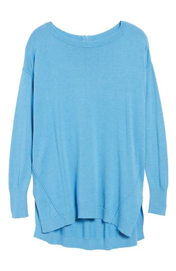 Women's Caslon Zip Back High/low Tunic Sweater, Size Medium - Blue