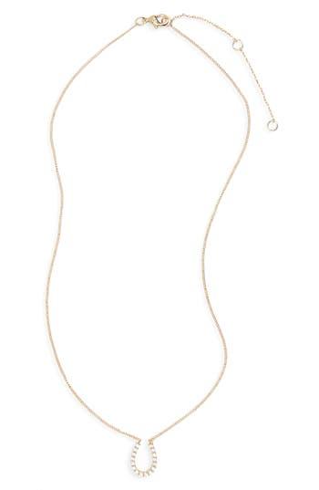 Women's Bp. Crystal Horseshoe Pendant Necklace