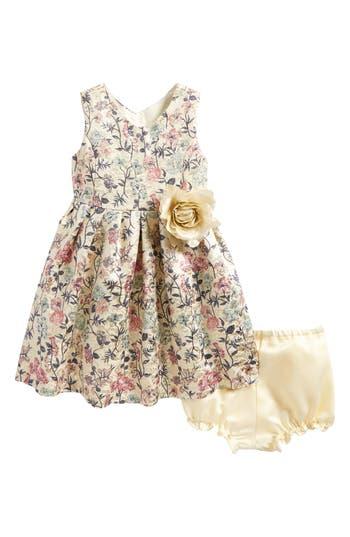 Infant Girl's Pippa & Julie Metallic Floral Brocade Dress