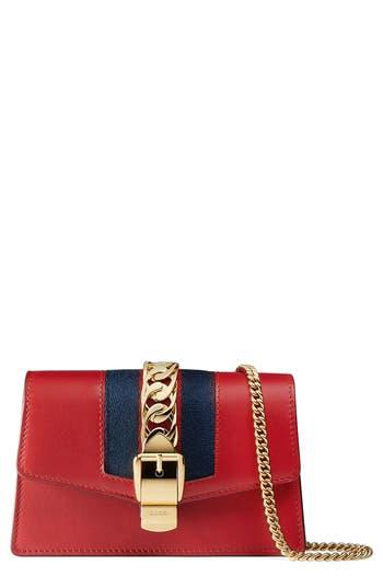 Women's Gucci Super Mini Sylvie Chain Wallet - Red