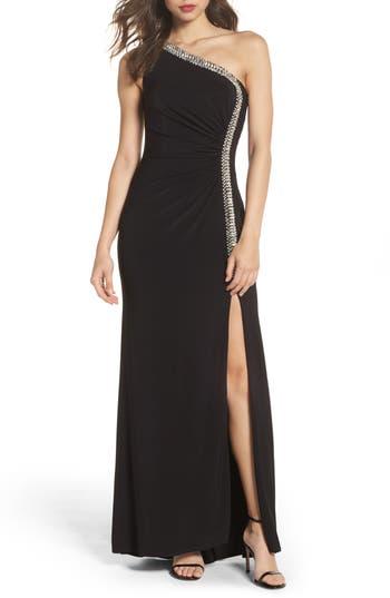 Vince Camuto Crystal Trim One-Shoulder Gown, Black