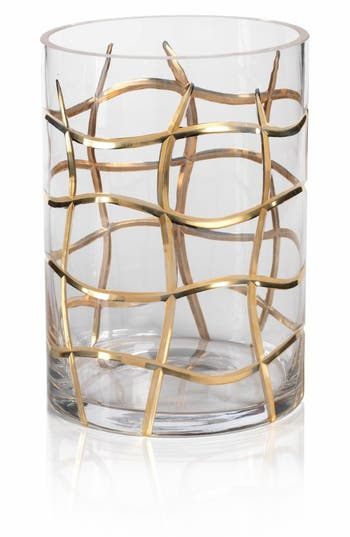 Zodax Small Groove Hurricane Candle Holder, Size One Size - Metallic