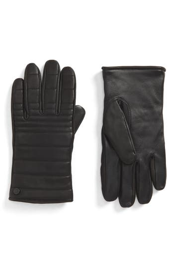 Canada Goose Quilted Leather Gloves With Faux Fur Lining, Black