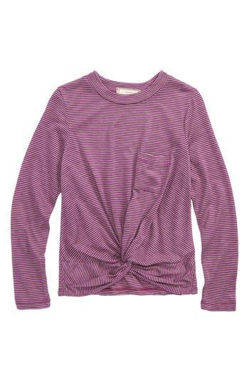 Girl's Soprano Knot Front Stripe Top, Size S (8-10) - Purple