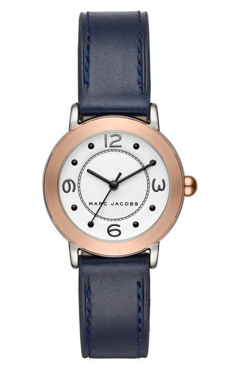 Women's Marc Jacobs Riley Leather Strap Watch, 28Mm