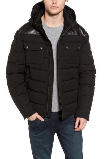 Men's Moose Knuckles Gunton Slim Fit Leather Trim Puffer Jacket