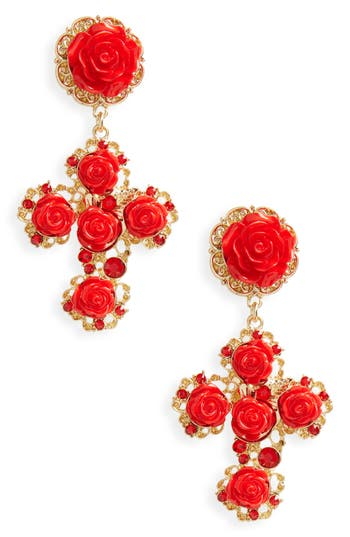 Women's Bp. Floral Cross Drop Earrings