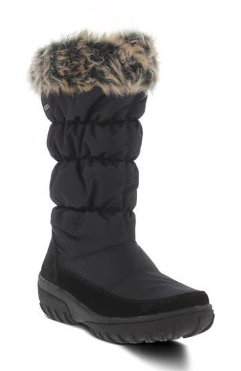 Spring Step Vanish Faux Fur Trim Waterproof Boot - Black