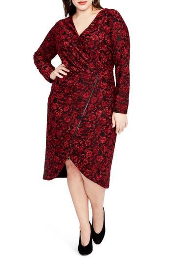 Rachel Rachel Roy Downs VELVET FLORAL ZIP FRONT DRESS
