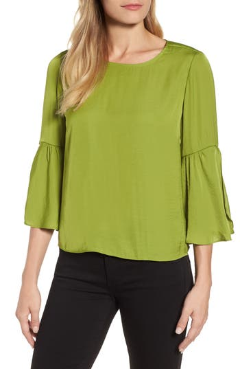 Women's Vince Camuto Hammer Satin Bell Sleeve Blouse, Size X-Small - Green
