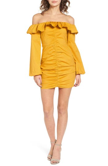 Women's Tularosa Zuri Off The Shoulder Dress, Size Medium - Yellow
