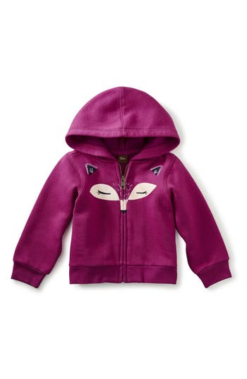 Infant Girl's Tea Collection Fox Face Zip Hoodie, Size 3-6M - Pink