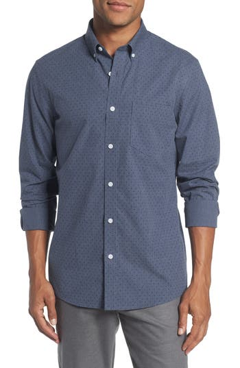 Men's Nordstrom Men's Shop Trim Fit Non-Iron Dot Print Sport Shirt