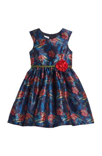 Girl's Pippa & Julie Floral Print Shantung Dress