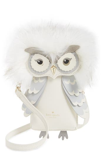 Women's Kate Spade New York Owl Faux Fur & Leather Smartphone Crossbody Bag - White