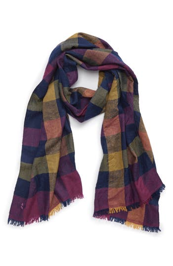 Men's Drakes Block Madras Check Cashmere Scarf, Size One Size - Blue