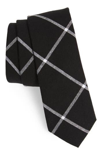 Men's Nordstrom Men's Shop Halsey Windowpane Cotton Skinny Tie, Size Regular - Black