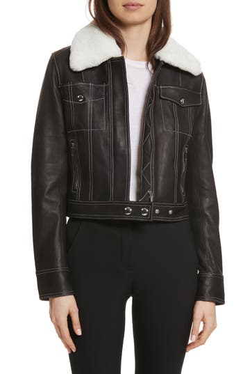 Women's Grey Jason Wu Shrunken Leather Jacket With Removable Genuine Shearling Collar