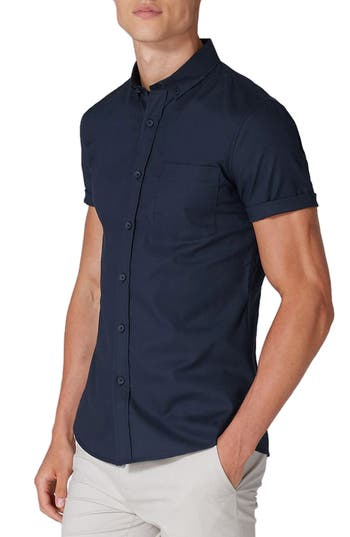 Topman Muscle Fit Woven Shirt, Blue