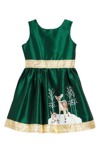 Kids 1950s Clothing & Costumes: Girls, Boys, Toddlers Toddler Girls Fiveloaves Twofish Fawn Of Winter Dress Size 3T - Green $88.00 AT vintagedancer.com