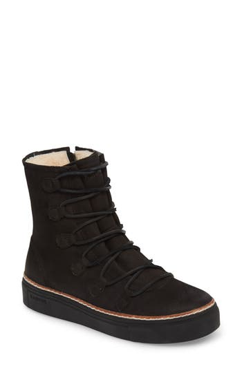 Blackstone Ol26 Genuine Shearling Lined Lace-Up Bootie, Black